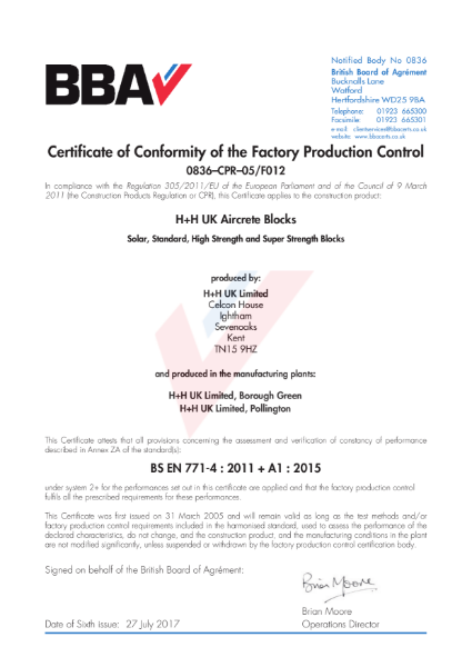 BBA Certificate of Conformity F012i5-2
