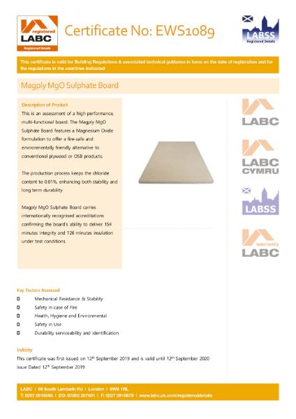 LABC: Registered - Certificate No: EWS1089