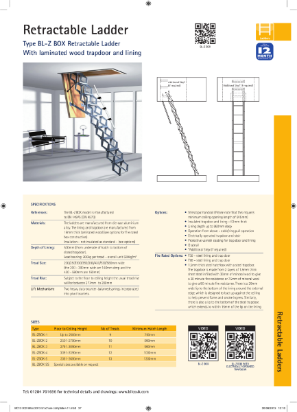 TYPE BL-ZBOX Retractable Ladder with Trap Door