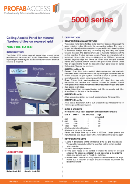 Profab 5000 Series Access Panel for Suspended Ceilings Non-Fire Rated