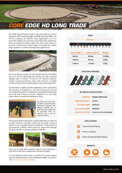 CORE EDGE HD LONG Trade Metal Edging Specification Sheet
