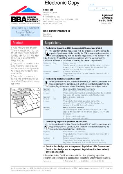 04/4076 Monarflex Protect 1F roof tile underlay
