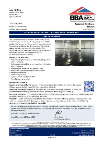JUTA GPL Gas Barrier 20/5728 - Product Sheet 4
