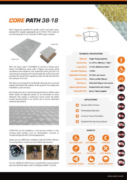 CORE PATH 38 18 White Gravel Stabiliser Specification Sheet