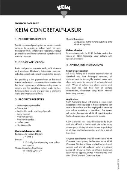 Keim Concretal Lasur Technical Data Sheet