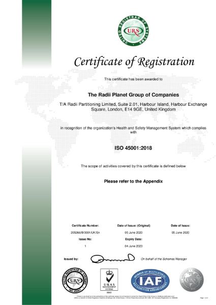 ISO45001 Certificate of Registration