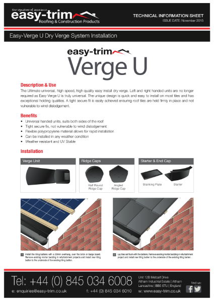 Easy-Verge U - Dry Verge System : Installation Guide