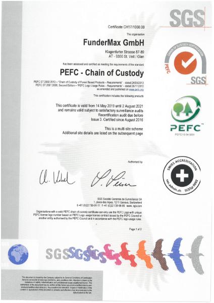 PEFC Certificate FunderMax | Fibreboards, Homogen, Star Favorit, HPL, Compact