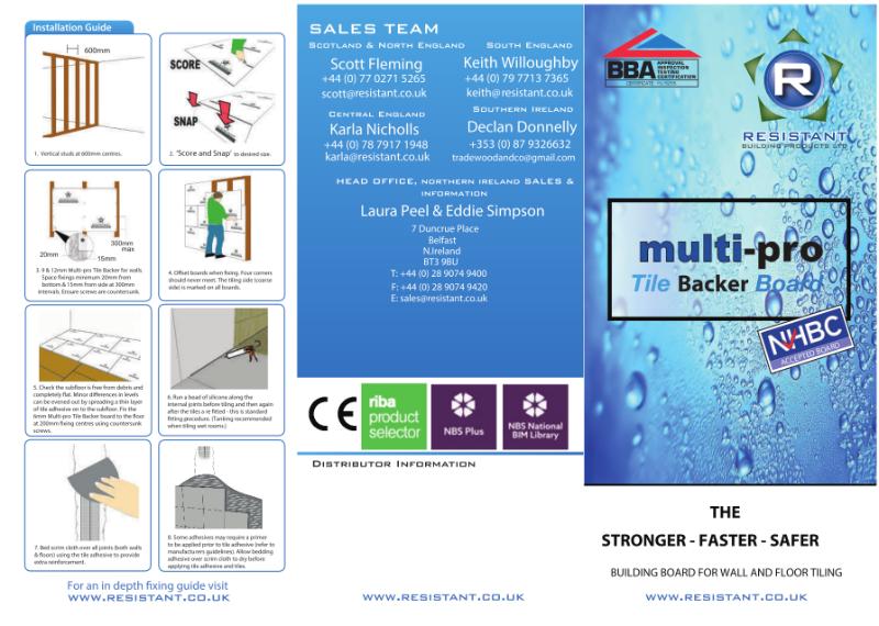 Multi-pro Tile Backer Trifold leaflet