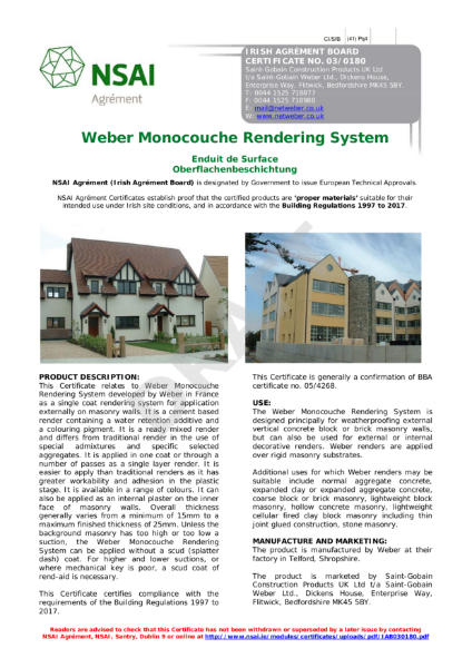 03/0180 Weber Monocouche Rendering System NSAI Certificate