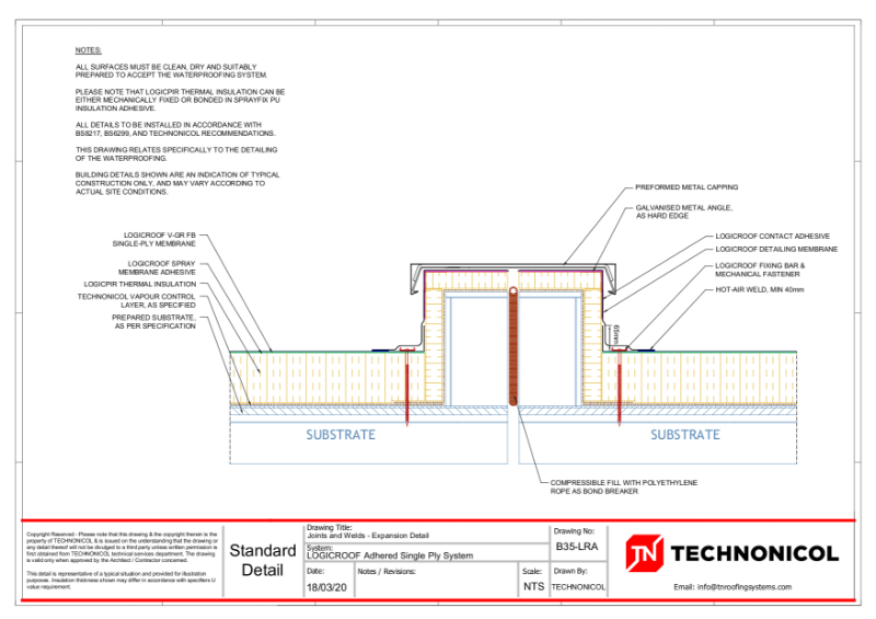 TN LOGICROOF Adhered Single Ply System - Joints and Welds - Expansion Details