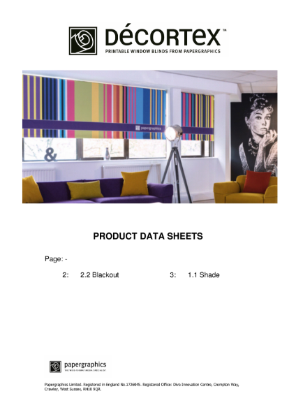 Décortex 2.2 and 1.1 Roller Blind Fabric Product Data Sheets