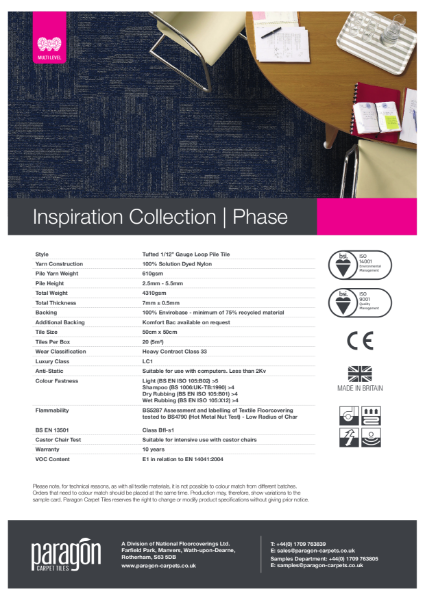 Paragon Carpet Tiles - Inspiration Collection - Phase - Specification Information