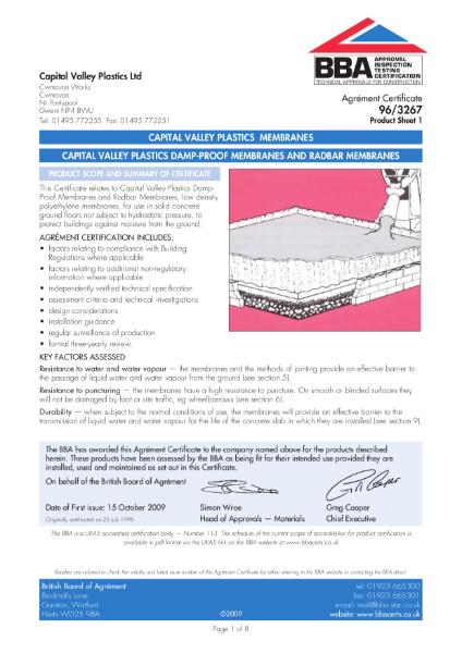 96/3267 Capital Valley Plastics Damp-proof Membranes and Radar Membranes