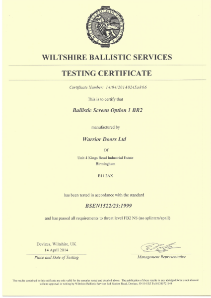 Ballistic Test Certificate Screen Option 1 BR2