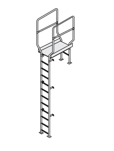 SL/PS - Fixed Vertical Ladder with Parapet Stepover Platform