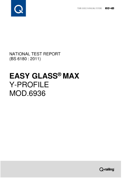 BS 6180 Test report Q-railing Easy Glass Max, fascia mount Y profile