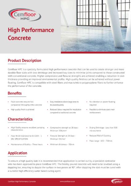 Cemfloor HPC Technical Data Sheet