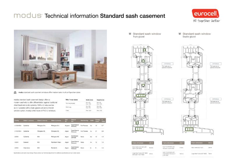 Modus Standard Sash Casement Technical Information