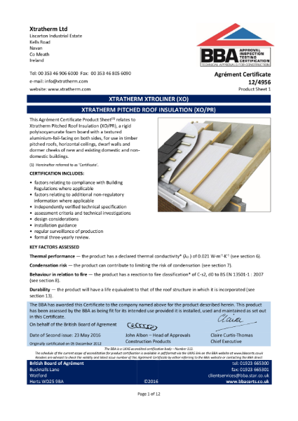 12/4956 Xtratherm Pitched Roof Insulation (XO/PR) (Product Sheet 1)