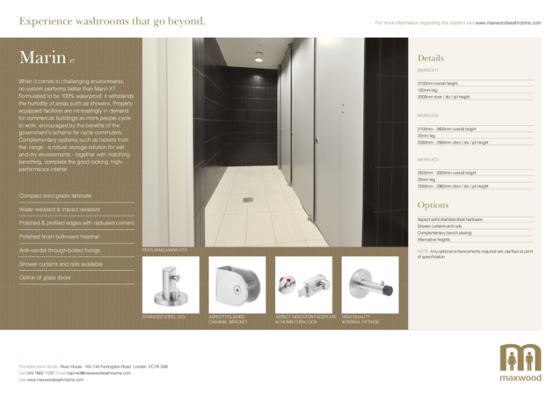 Cubicles - Marin XT - for total privacy and robustness in wet and humid areas
