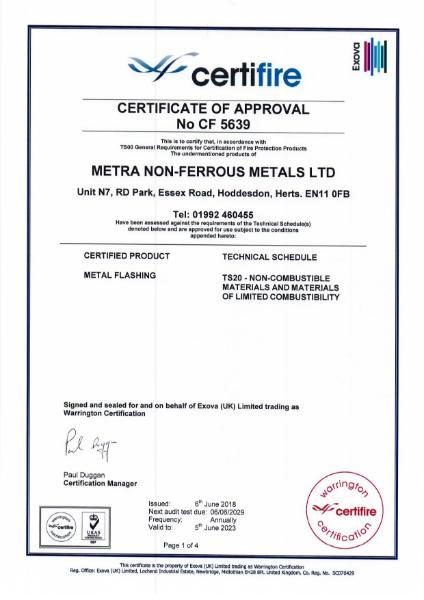 A1 Fire Certificte