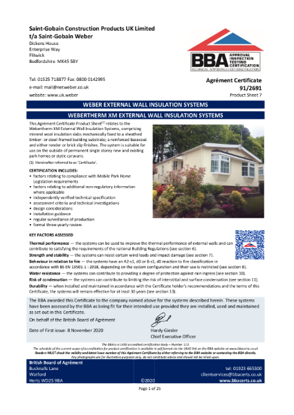 91/2691 Weber.Therm XM External Wall Insulation System (Product Sheet 7)
