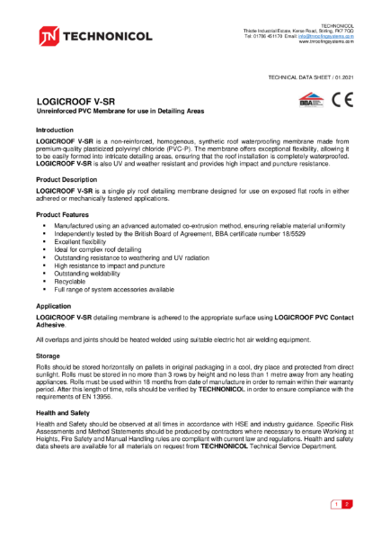 TN LOGICROOF V-SR Unreinforced PVC Membrane for use in Detailing Areas