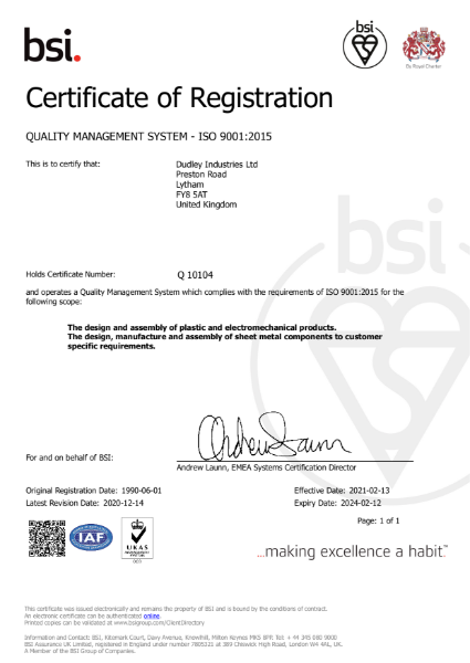 Dudley Industries ISO 9001:2015 Certificate