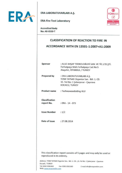 Classification of reaction to fire in accordance with EN 13501-1:2007+A1:2009