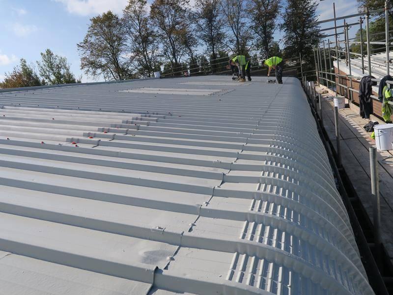 Metalseal metal roof coating installation
