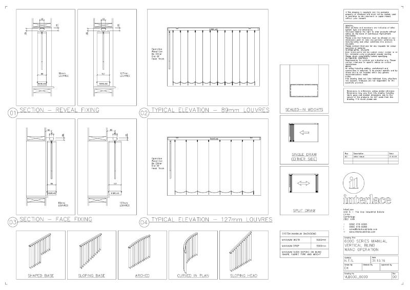 6000 Series Vertical Blind - Drawing Manual Mono Wand