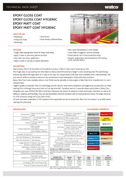 Data Sheet: Watco Epoxy Gloss Coat