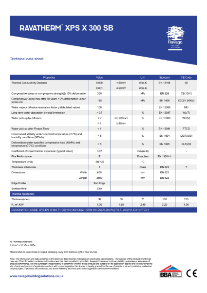 Ravatherm XPS X 300 SB Technical Data Sheet