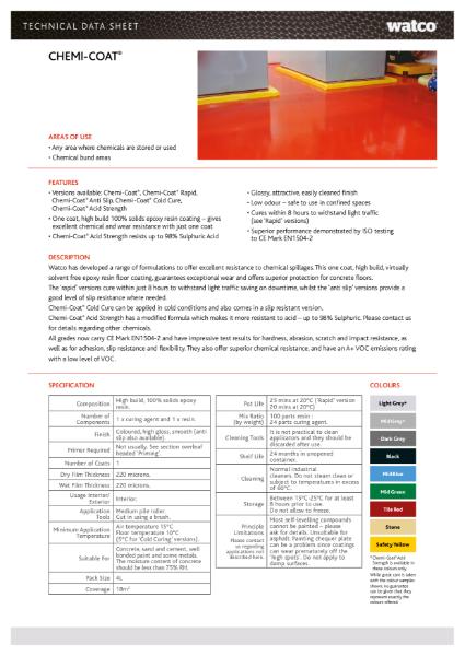 Data Sheet: Chemi-Coat Range