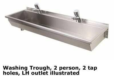 1200 Washing Trough, Lh Outlet 2-Person 2 Th - Wash trough