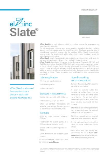 elZinc Slate Pre-patinated Zinc Datasheet