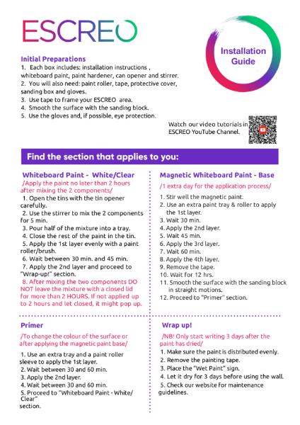 Dry erase paint application instructions - ESCREO UK