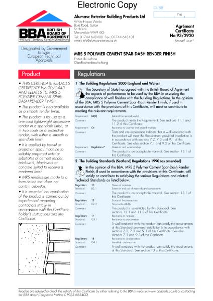 93/2920 MRS 5 Polymer cement spar-dash render finish