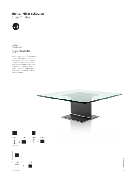 I-beam Table Collection - Product Sheet