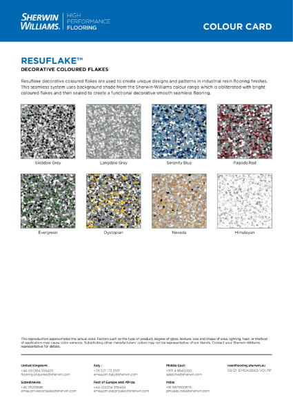 Colour chart - Resuflake floor systems