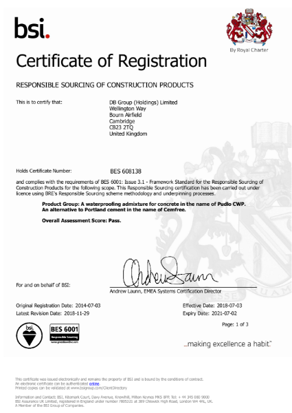 BES 6001 DB Group Certificate