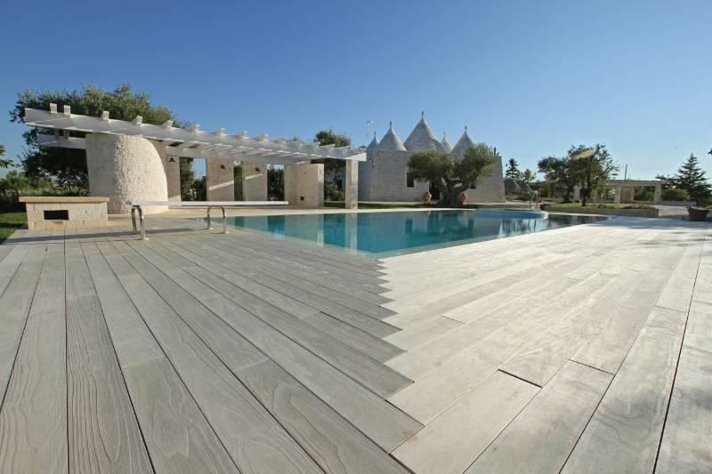Accoya wood used for decking for private residence in southern Italy