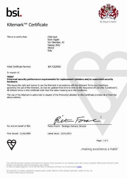BSI Kitemark Certificate