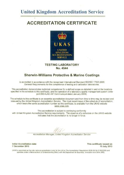 Sherwin-Williams standards certification - UKAS ISO Certificate