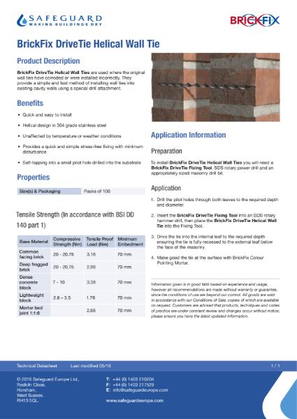 Brickfix Helical Wall Tie Datasheet