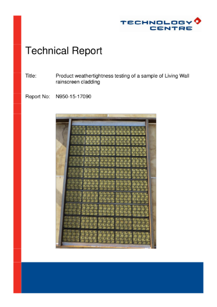 Biotecture Living Wall CWCT Test Result Report