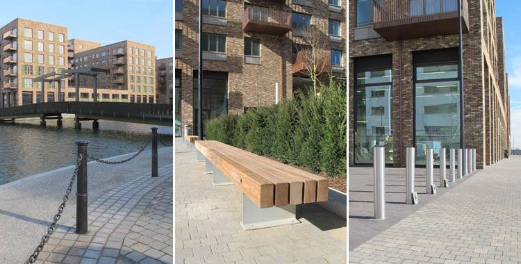Street furniture for new dockside residential development