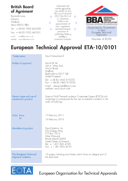 10/0101 European Technical Approval