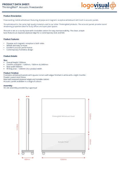 ThinkingWall Mobile Acoustic Freestander Whiteboard Data Sheet